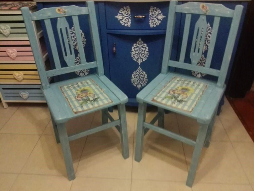 Alaçatı Çiçekli Antika Maviş 4 lü Retro Thonet Sandalyeler resmi