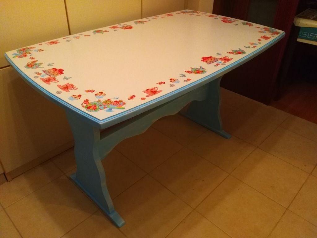 Vintage Mavi-Beyaz Çaydanlık-Fincan Desenli Mutfak Balkon Masası resmi