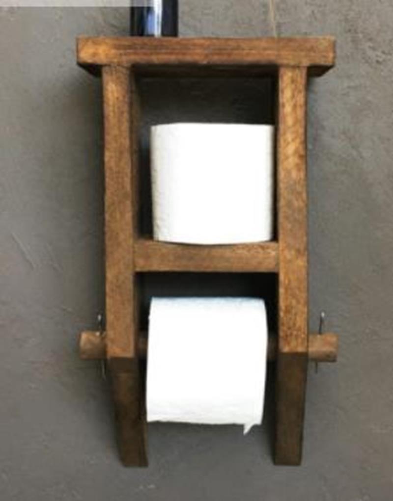 Imker dekoratif masif ahşap tuvalet kağıtlığı ahşap banyo wc kağıtlık 5334411 resmi