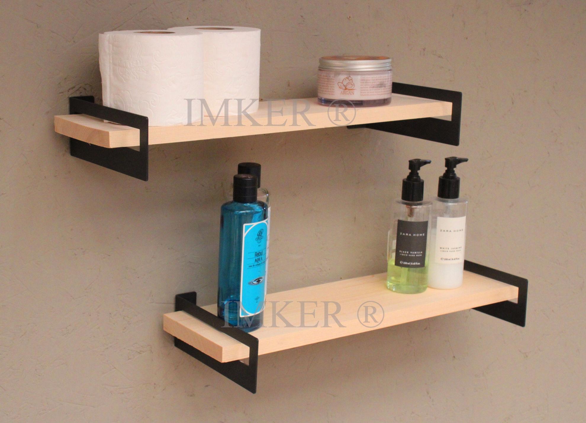 Imker metal ayaklı masif ahşap banyo duvar rafı seti düzenleyici organizer terek 2li 50cm 5334441 resmi