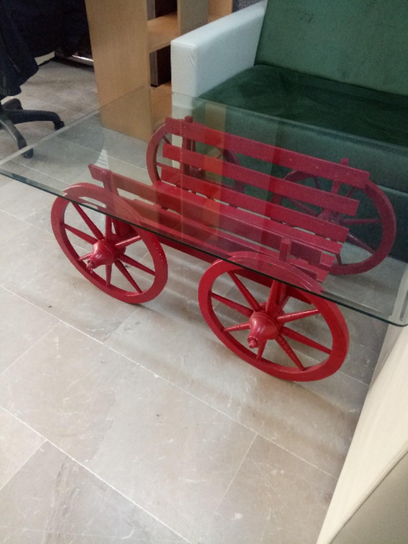Kırmızı El Boyama At Arabası Sehpa Yeni Gibi Orta Sehpa Satıcı