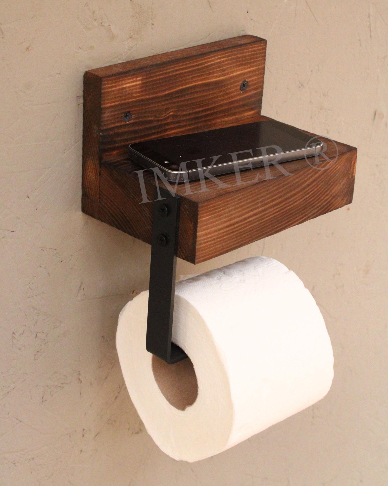 imker ahşap wc kağıtlık tuvalet kağıtlığı tuvalet kağıdı askısı metal aparatlı telefonluk banyo duvar rafı 5334468 resmi