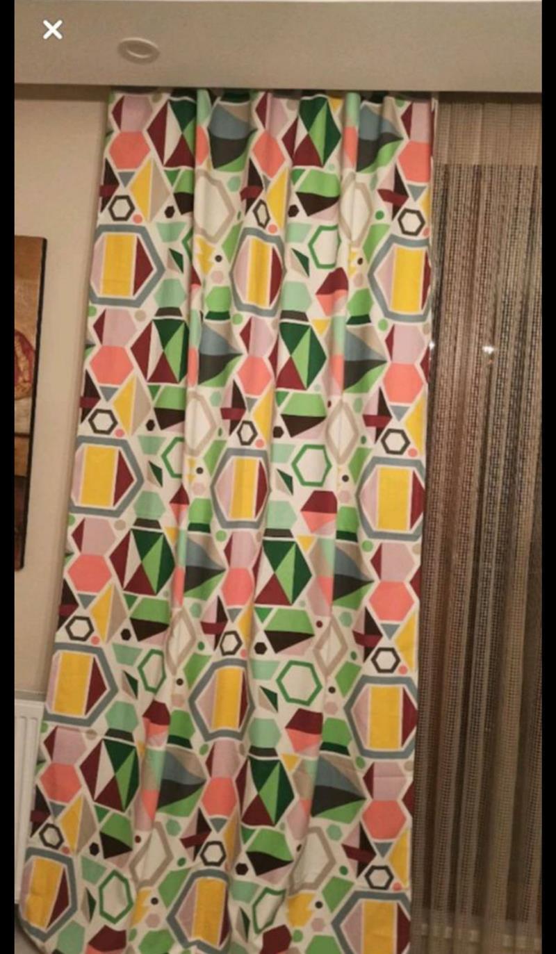 Geometri desenli renkli keten perde  resmi