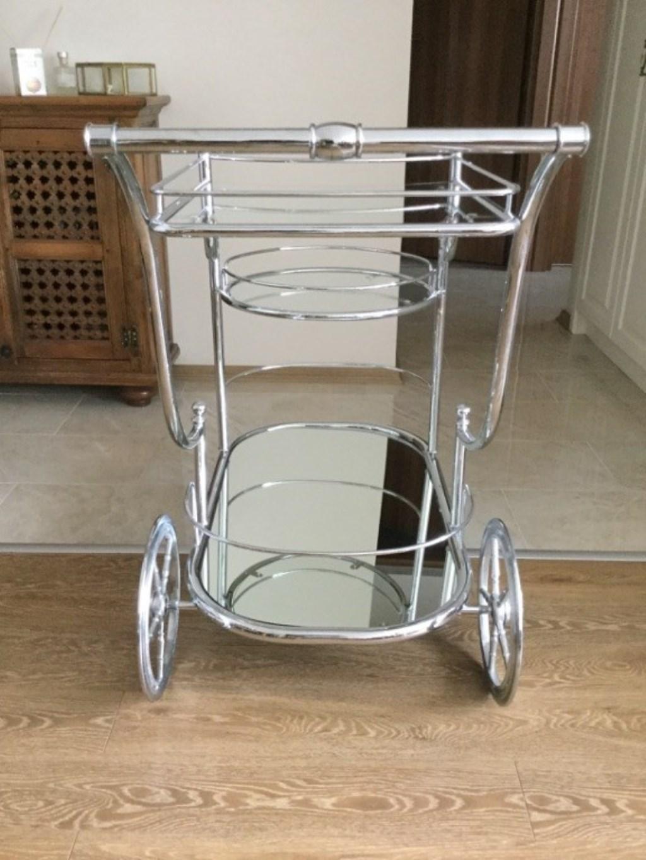 Krom 3 Katlı Aynalı Servis Arabası resmi