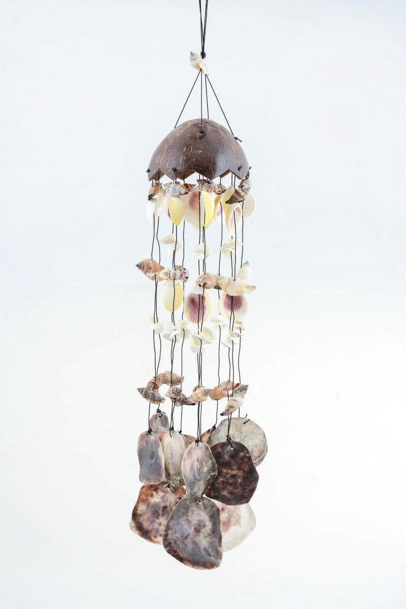 Doğal deniz kabuklu asma aparatlı rüzgar çanı 70cm (r112) resmi