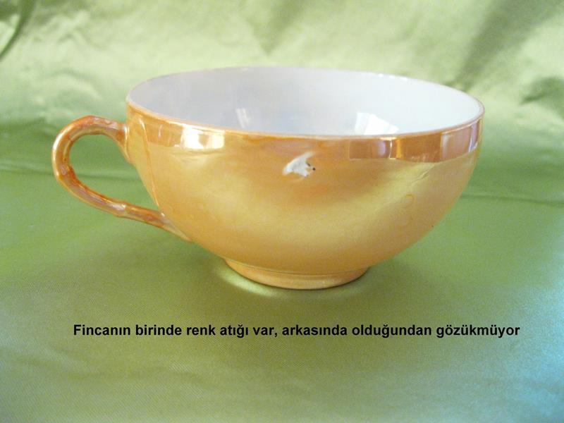 Vintage incecik sedefli porselen el boyamalı dekoratif takım resmi