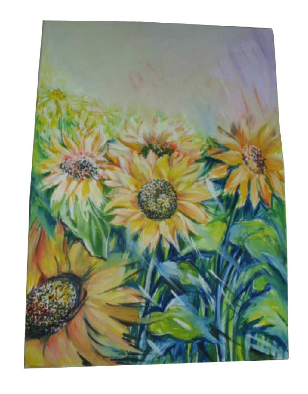 çok Renkli Ayçiçeği Tarlası Yağlı Boya Tablo Yeni Gibi Tablo Resim