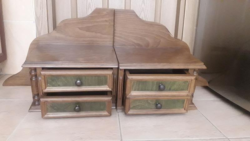 Yeşil eskitmeli ceviz rengi ahşap  2 adet 2li dekoratif çekmeceli kutu resmi