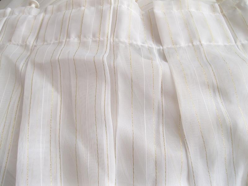İki kanat ince dore çizgili beyaz tül perde ıı resmi