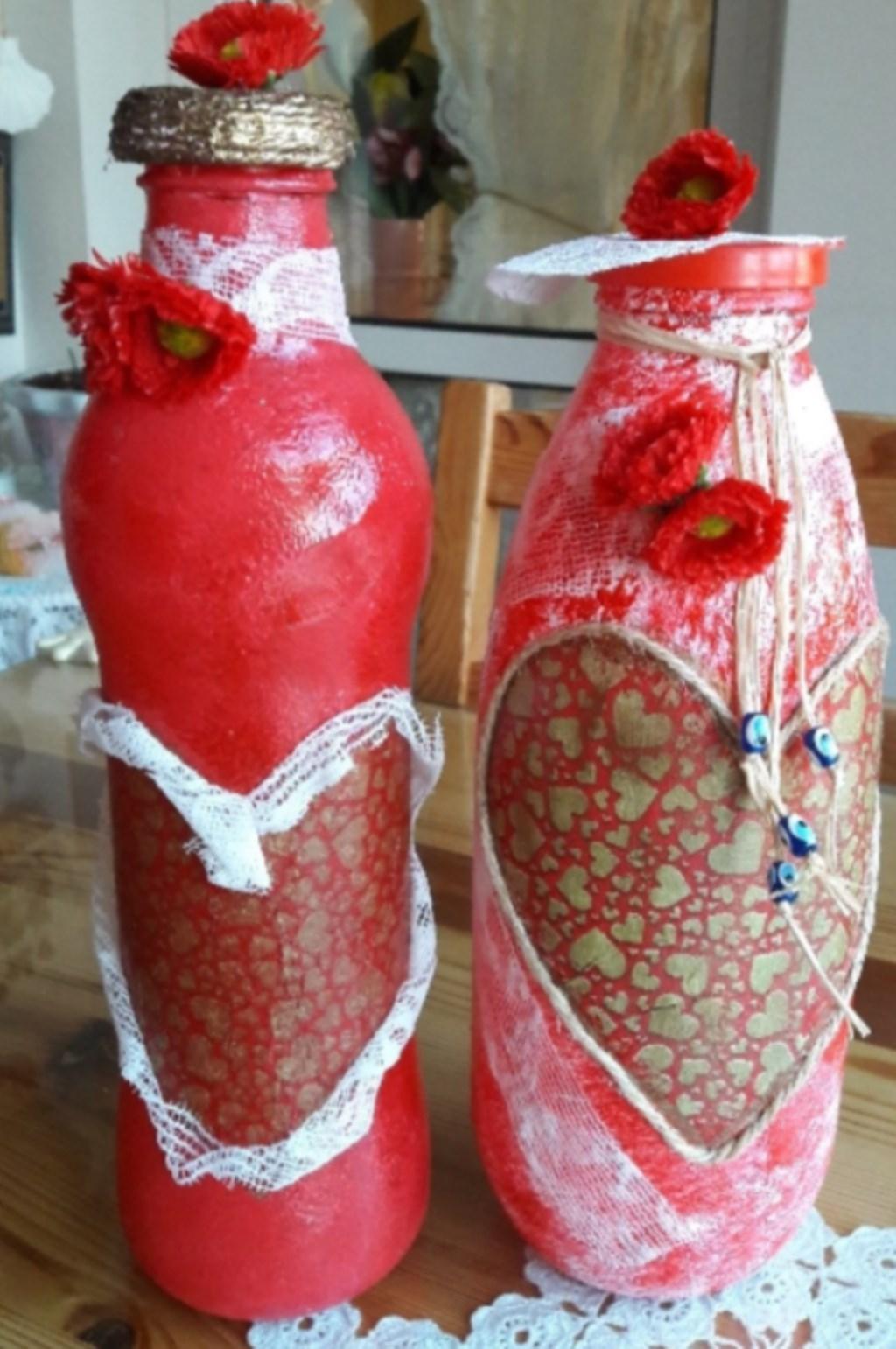 Kırmızı El Boyama İkili Dekoratif Şişe Modelleri ve ...