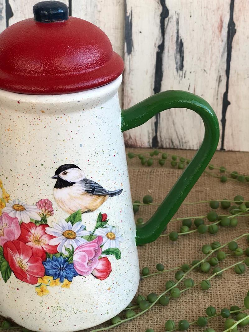 Seramik kapaklı sürahi- kuşlu çiçekli 1 resmi
