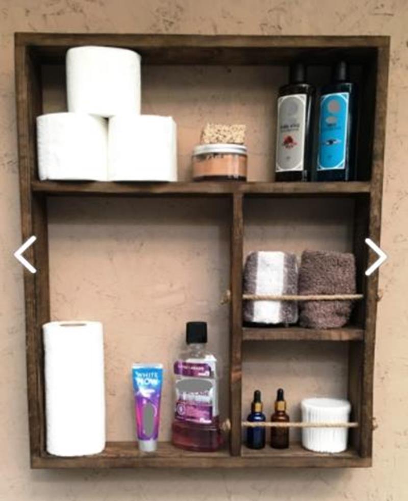 Imker dekoratif tasarım halatlı 4 gözlü ahşap duvar rafı çok amaçlı terek banyo dolabı 5334400 resmi