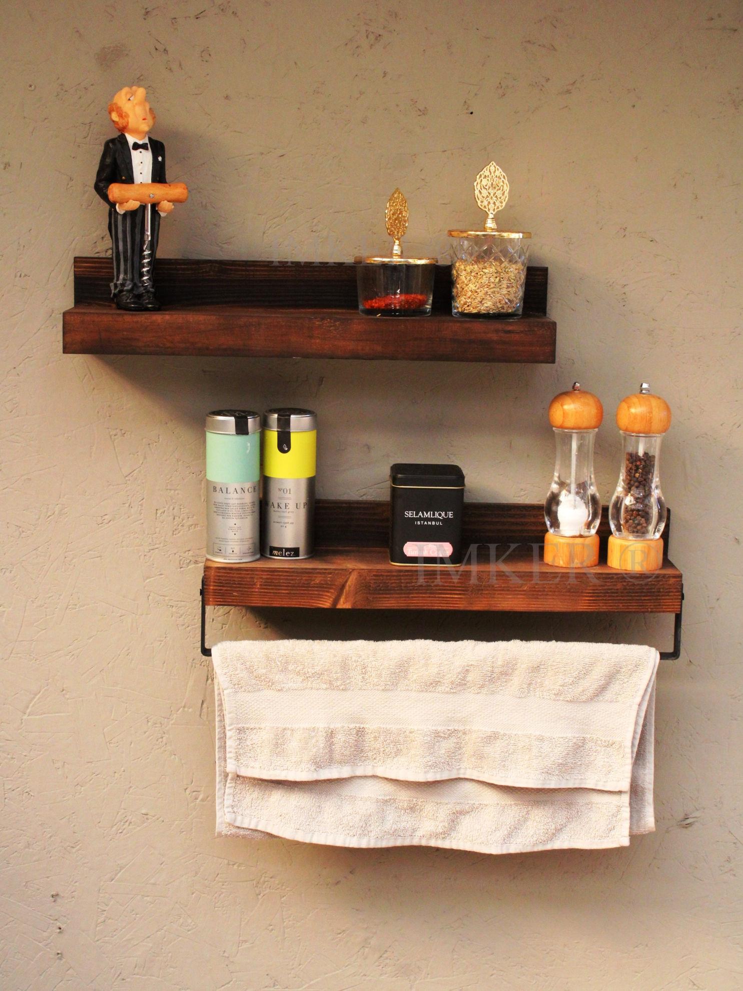 Imker metal havlu askısı 2li masif ahşap mutfak baharatlık duvar rafı düzenleyici terek 5334433 resmi