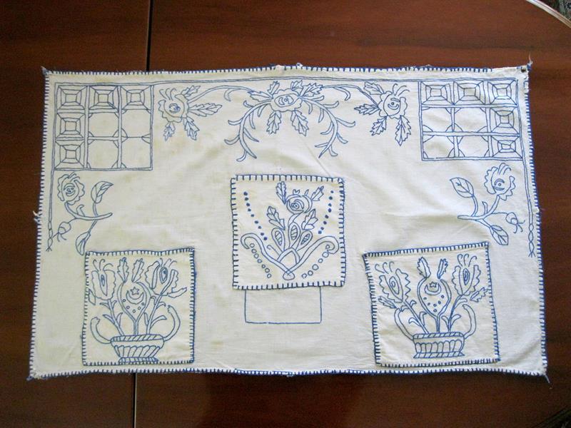 Gerçek antika el nakışlı mutfak perdesi / panosu resmi