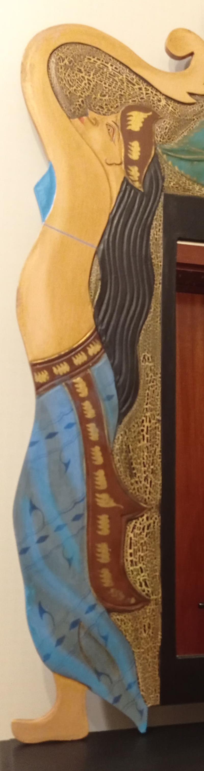 Indian bikinili kizlar boyutlu tasarım ahşap ayna resmi
