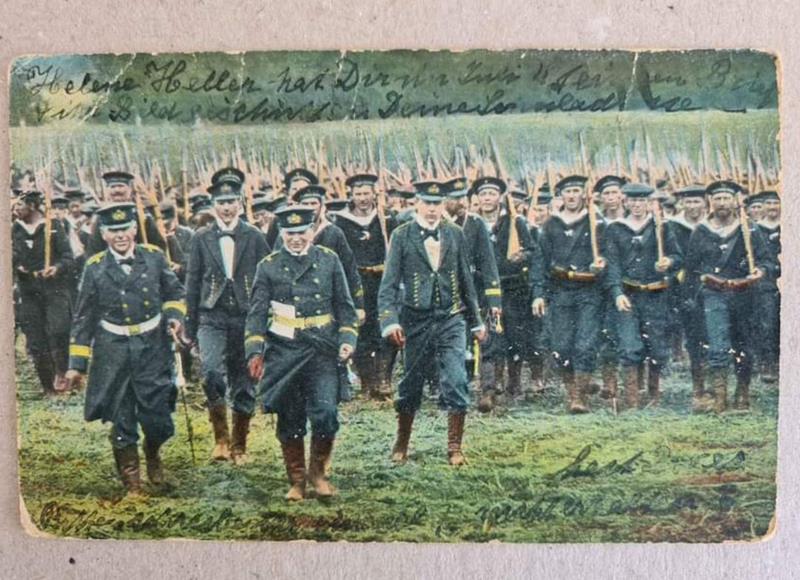 1.dünya savaşı denizciler sansür damgalı. türkiye'ye gönderilmiş 1918 tarihli kartpostal. arkası yazılı. resmi