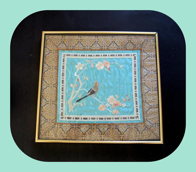 Saf ipek el nakışlı uzakdoğu tablo resmi
