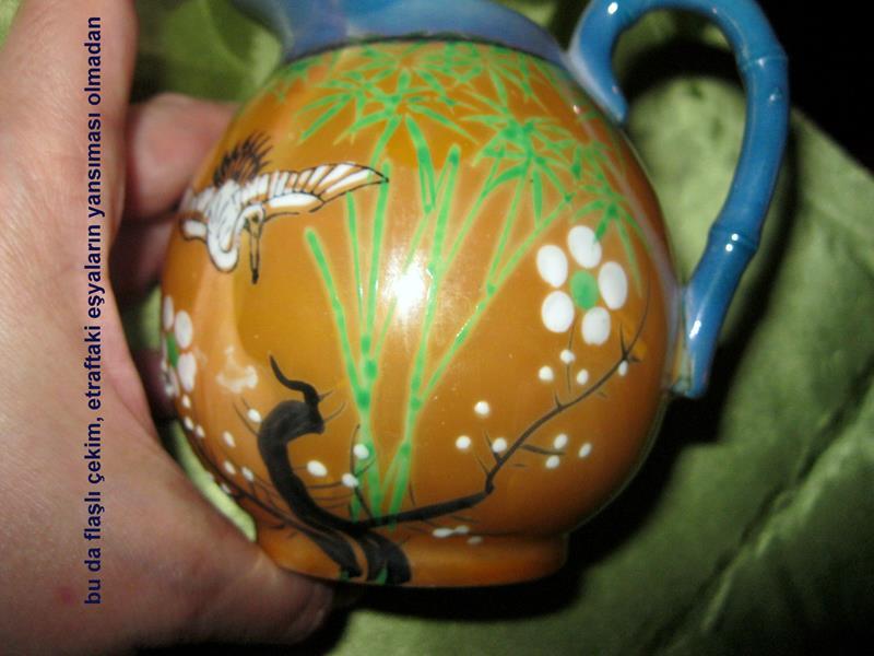 Vintage el boyamalı japon dekoratif resmi