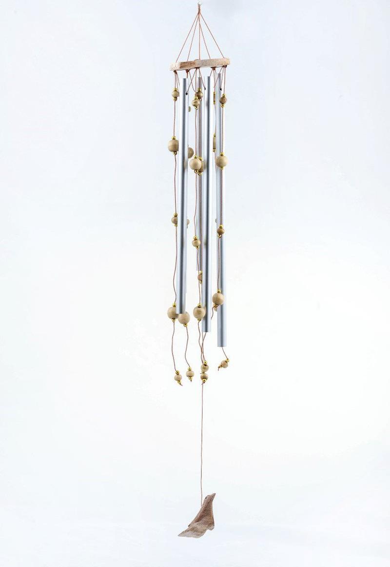 Ahşap kuş ve boncuk bezeli asma aparatlı rüzgar çanı 65cm (r113)  resmi