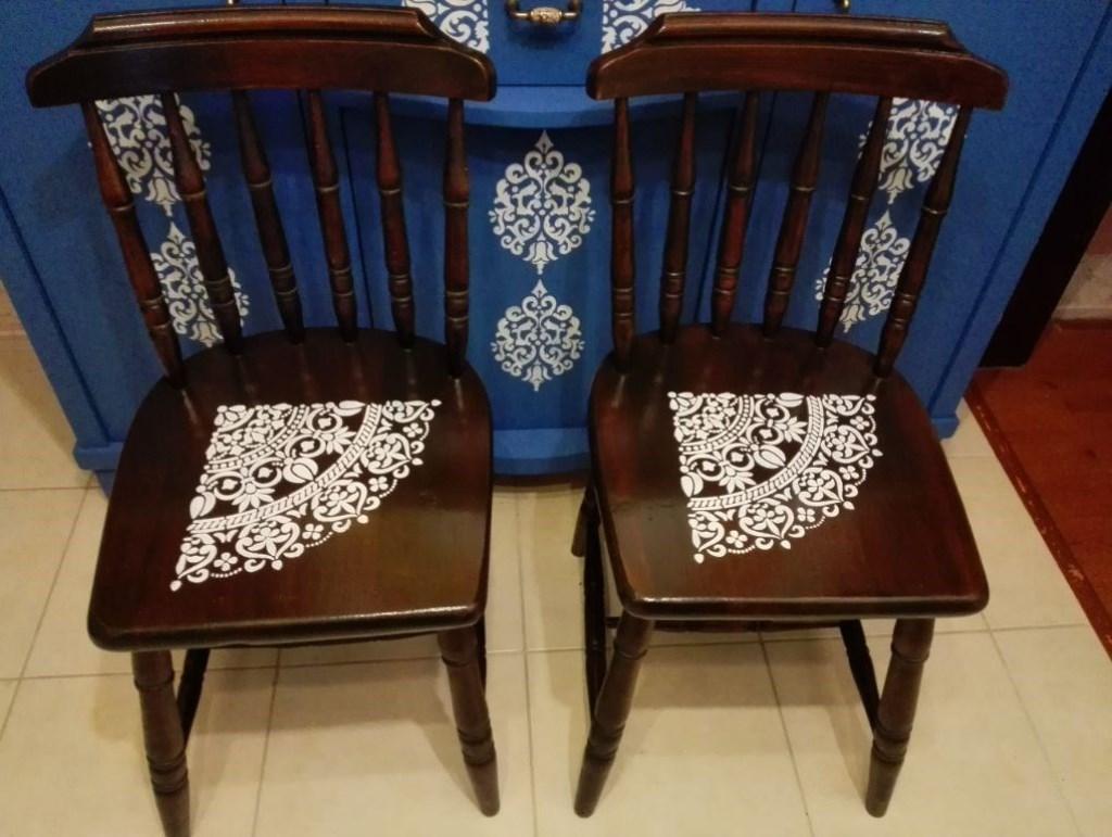 Antika Yenilenmiş 2'li Mandala Desenli Kütük Thonet Sandalye resmi