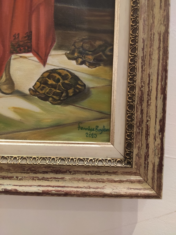 Cok Renkli Kaplumbaga Terbiyecisi Reproduksiyonu Sanatcisi Imzali