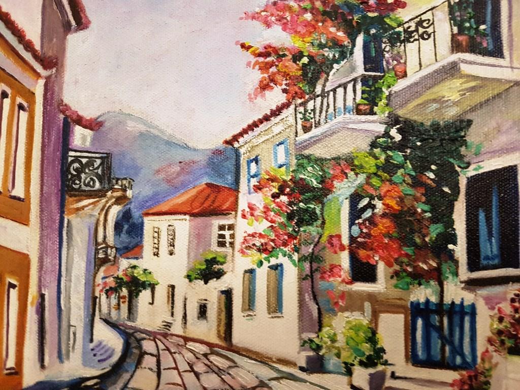 199 Ok Renkli Yağlı Boya Tablo Arnavut Kaldırımı Sokak