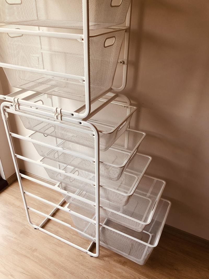 Ikea algot açık raf sepet sistemi / gardırop resmi